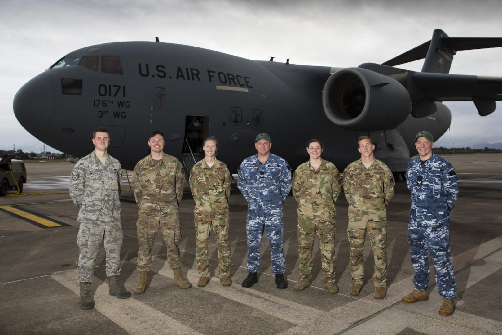 Royal Australian Air Force and US Air Force Technicians on the Tools Together