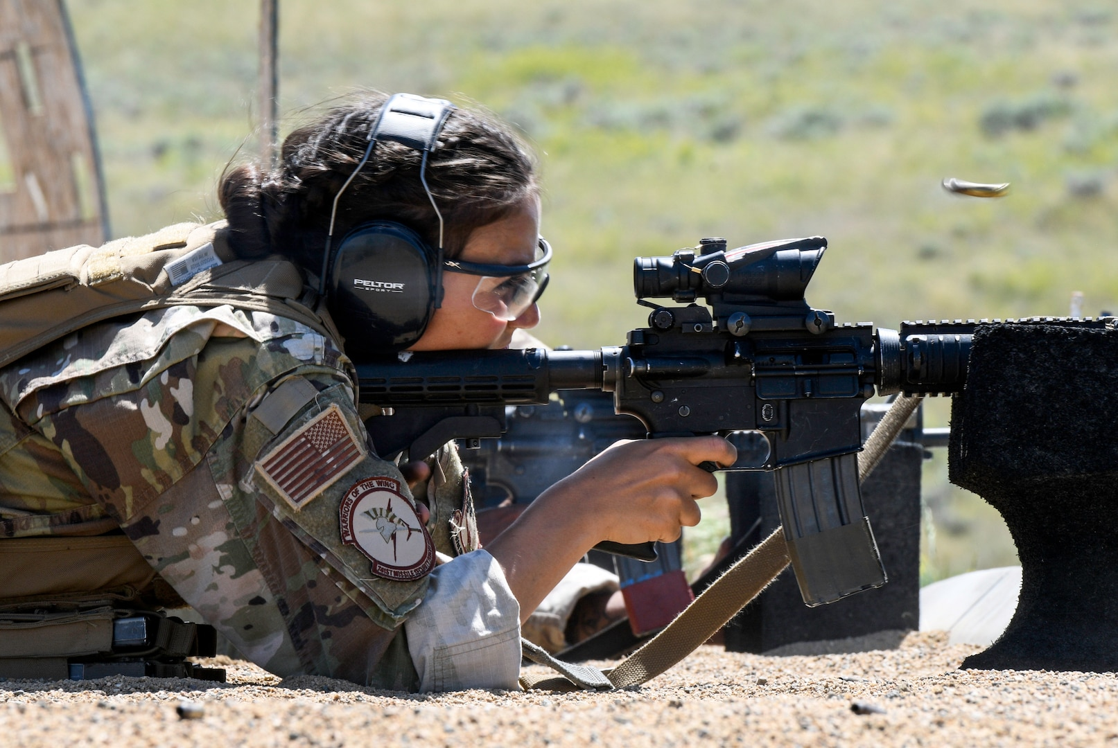 Airman 1st Class Victoria Kelly, 741st Missile Security Forces Squadron flight security controller, fires an M-4 carbine rifle July 24, 2019, at Fort Harrison, Mont.
