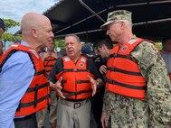 Military officials talk.