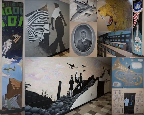 A collection of photos was taken July 17, 2019, of murals of painted at the 321 st Training Squadron as part of a two-year project at Joint Base San Antonio-Lackland, Texas.