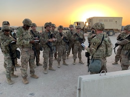 Soldiers of the 129th Support Battalion conduct a Level II Deployment Readiness Exercise to test their ability to go from an alert to establishing mission critical communication and life support systems at Camp Buehring, Kuwait, July 13, 2019.