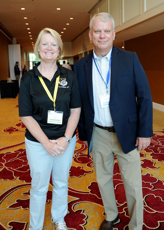Chief Master Sgt. Linda Sparks, a Reservist from Scott Air Force Base Illinois, and Col. Don Wren, 910th Mission Support Group commander, from Youngstown Air Reserve Base, Ohio, reunited during the Yellow Ribbon Reintegration Program event in St. Louis, Missouri, July 19-21, 2019. Sparks and Wren are former co-workers, and at the Yellow Ribbon event, Sparks took Wren's class on how to write an effective resume for a federal job. (U.S. Air Force photo by Tech. Sgt. Lauren Gleason)
