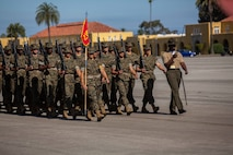 Recruits with Hotel Company, 2nd Recruit Training Battalion, march during a final drill evaluation at Marine Corps Recruit Depot San Diego, July 20.