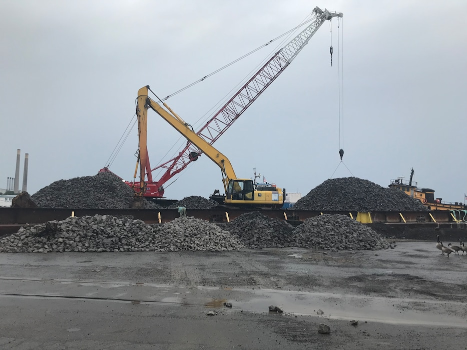 The U.S. Army Corps of Engineers, Buffalo District began construction of a maintenance repair on Thursday, July 18th, 2019 in Lake Ontario at the west arrowhead breakwater in Oswego Harbor, located in the City of Oswego, New York.
