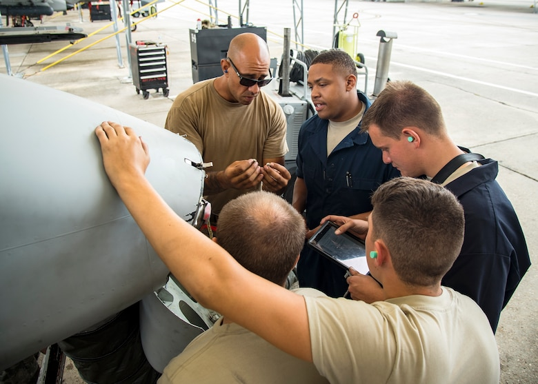 Airmen from the 75th Aircraft Maintenance Unit perform maintenance on an A-10C Thunderbolt II during a sortie surge exercise, July 24, 2019, at Moody Air Force Base, Ga. The exercise was conducted to determine Airmen's abilities to perform effectively while generating combat or training sorties at an accelerated rate. Throughout the four-day surge, pilots and maintainers completed 131 sorties spanning approximately 152 flying hours. (U.S. Air Force photo by Airman 1st Class Eugene Oliver)