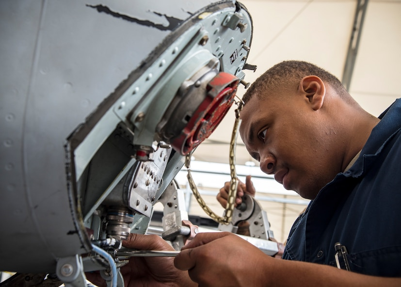 Senior Airman Jordan Lawson, 75th Aircraft Maintenance Unit crew chief, performs maintenance on an A-10C Thunderbolt II during a sortie surge exercise, July 24, 2019, at Moody Air Force Base, Ga. The exercise was conducted to determine Airmen's abilities to perform effectively while generating combat or training sorties at an accelerated rate. Throughout the four-day surge, pilots and maintainers completed 131 sorties spanning approximately 152 flying hours. (U.S. Air Force photo by Airman 1st Class Eugene Oliver)
