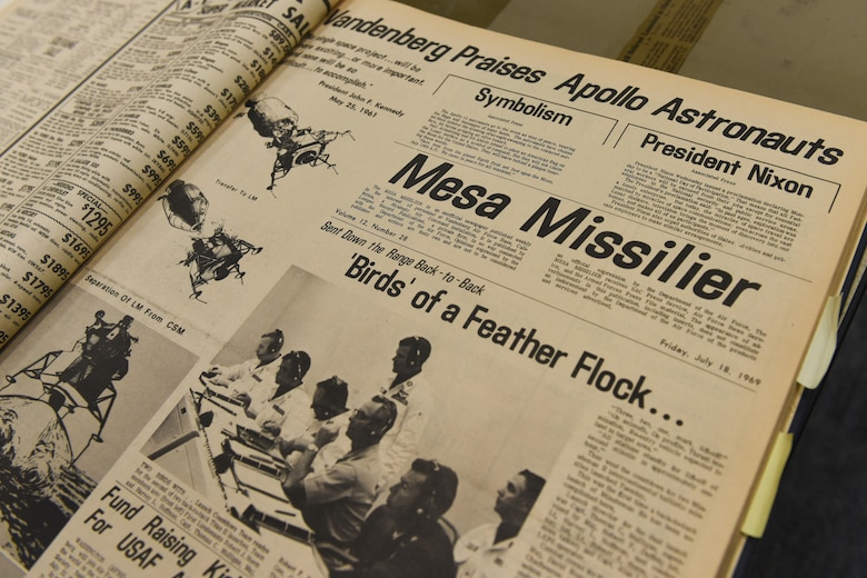 "Events of the Apollo 11 lunar mission are documented in a July 1969 issue of the ""Mesa Missilier"", a publication which served as base newspaper at the time and is now archived through the 30th Space Wing history office."