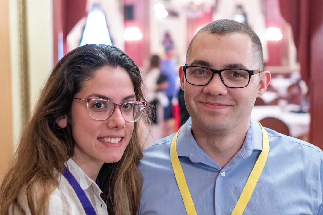 Tech. Sgt. Anthony Serrano, 35th Aerial Port Squadron special handlng, poses for a picture with guest Lauren Costa at an Air Force Reserve Yellow Ribbon Program event held in Chicago, 27 July, 2019. YRRP events provide members and those who support them with dynamic and engaging delivery of information before, during, and after deployments. The program has impacted more than 1.5 million individuals since inception and shares a common goal: to help maintain the readiness of the Force and to build stronger, more resilient families. The 35th APS is part of the 514th Air Mobility Wing located in Joint Base McGuire-Dix-Lakehurst, N.J.