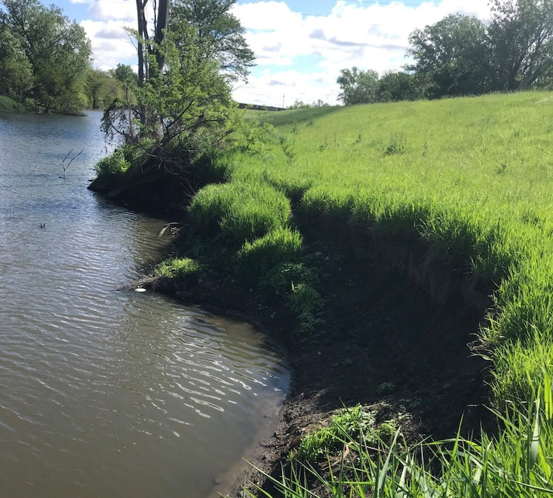 Channel erosion and sloughing along the Minne-Lusa channel and levee tie-back section May 22, 2019.