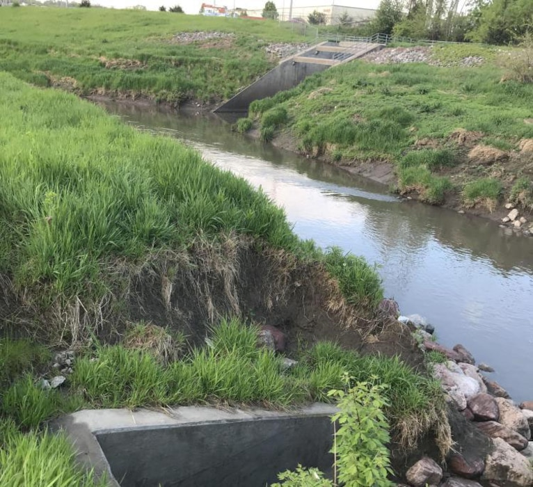 Erosion around a drainage structure and headwall identified during an initial damage assessment on May 14, 2019.