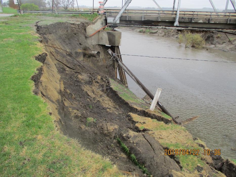 Substantial channel erosion along Logan Creek in Pender, NE. Picture was taken on Apr. 22, 2019.
