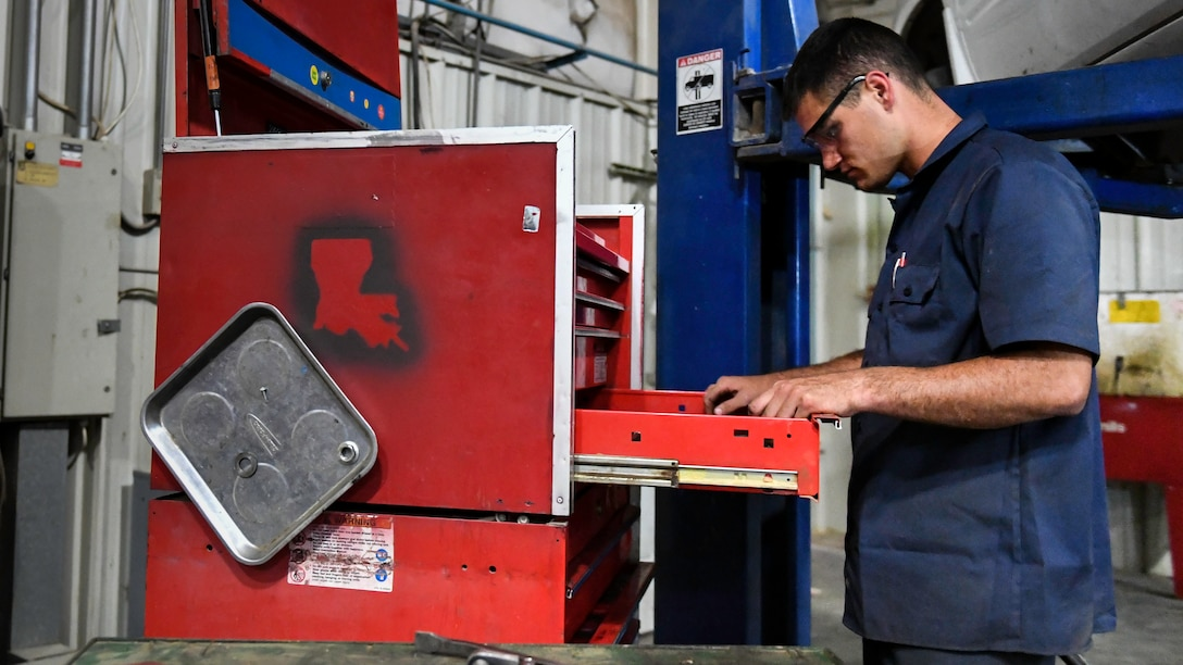 U.S. Air Force Senior Airman Darian O'Banion, 386th Expeditionary Logistics Readiness Squadron vehicle and equipment maintenance journeyman, searches for a tool in a toolbox at Ali Al Salem Air Base, Kuwait, July 29, 2019. Toolboxes each containing over 350 items necessary for the maintenance of vehicles and equipment on base, are assigned to individual Airmen. (U.S. Air Force photo by Staff Sgt. Mozer O. Da Cunha)