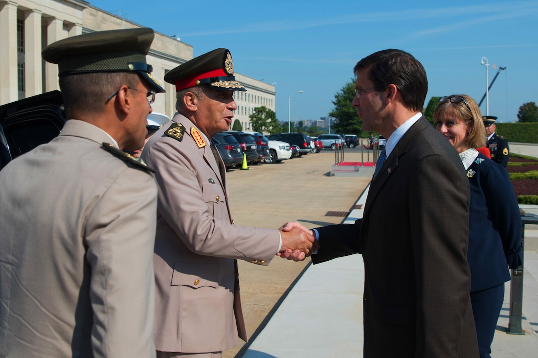 U.S. Secretary of Defense Mark T. Esper meets with Egyptian Minister of Defense, Colonel Gen. Mohamed Ahmed Zaki Mohamed at the Pentagon, Washington, D.C., July 29, 2019. (DoD photo by U.S. Army Sgt. Amber I. Smith)