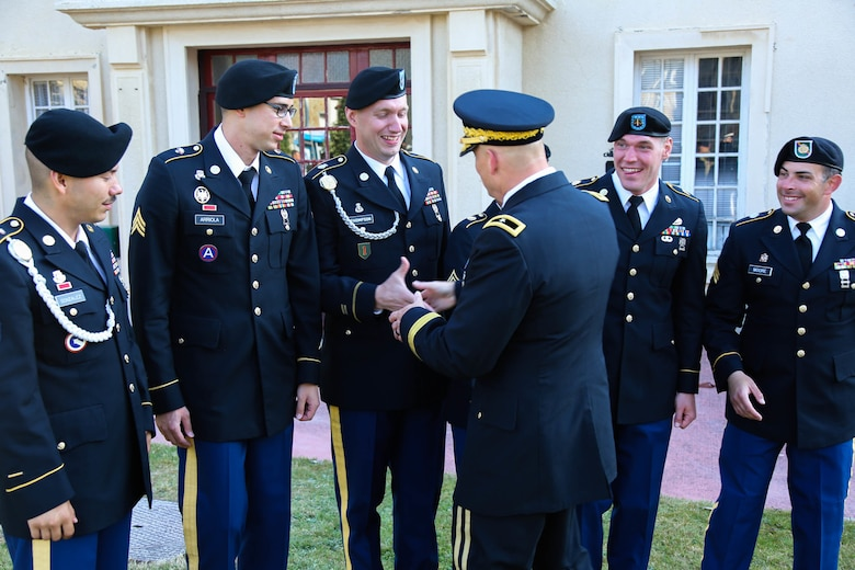 Brig. Gen. Michael T. Harvey, commanding general of the 7th Mission Support Command, recognizes the hard work and participation of the 7th MSC Soldiers who conducted the color guard ceremony for the 75th Anniversary of the liberation of the of the town of Periers, France on July 27, 2019. The 90th Infantry Division, now the 90th Sustainment Brigade, liberated the town during World War II seven weeks after landing on Utah beach just 35 kilometers away. (U.S. Army Reserve Photo by Capt. Joe Bush)