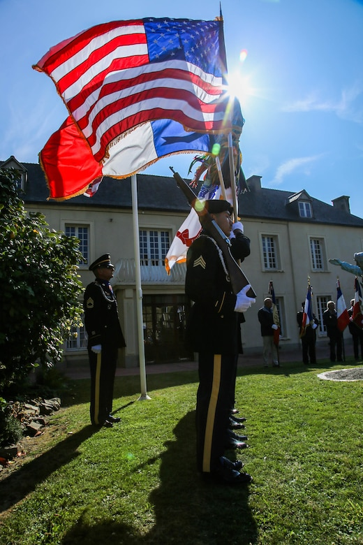 Color Guard Soldiers assigned to the 7th Mission Support Command participated in the 75th Anniversary of the liberation of the town of Periers, France on July 27, 2019. The 90th Infantry Division, now the 90th Sustainment Brigade, liberated the town during World War II seven weeks after landing on Utah beach just 35 kilometers away. (U.S. Army Reserve Photo by Capt. Joe Bush)