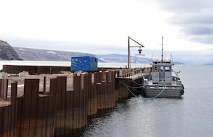 The Rising Star operates out of Thule Air Base, Greenland to assist cargo vessels supplying the air base July 18, 2019. The tugboat is operated during the less than three months per year the port is ice free. For the remainder of the year, the vessel is pulled up on the beach.  (U.S. Air Force photo by Staff Sgt. Alexandra M. Longfellow)