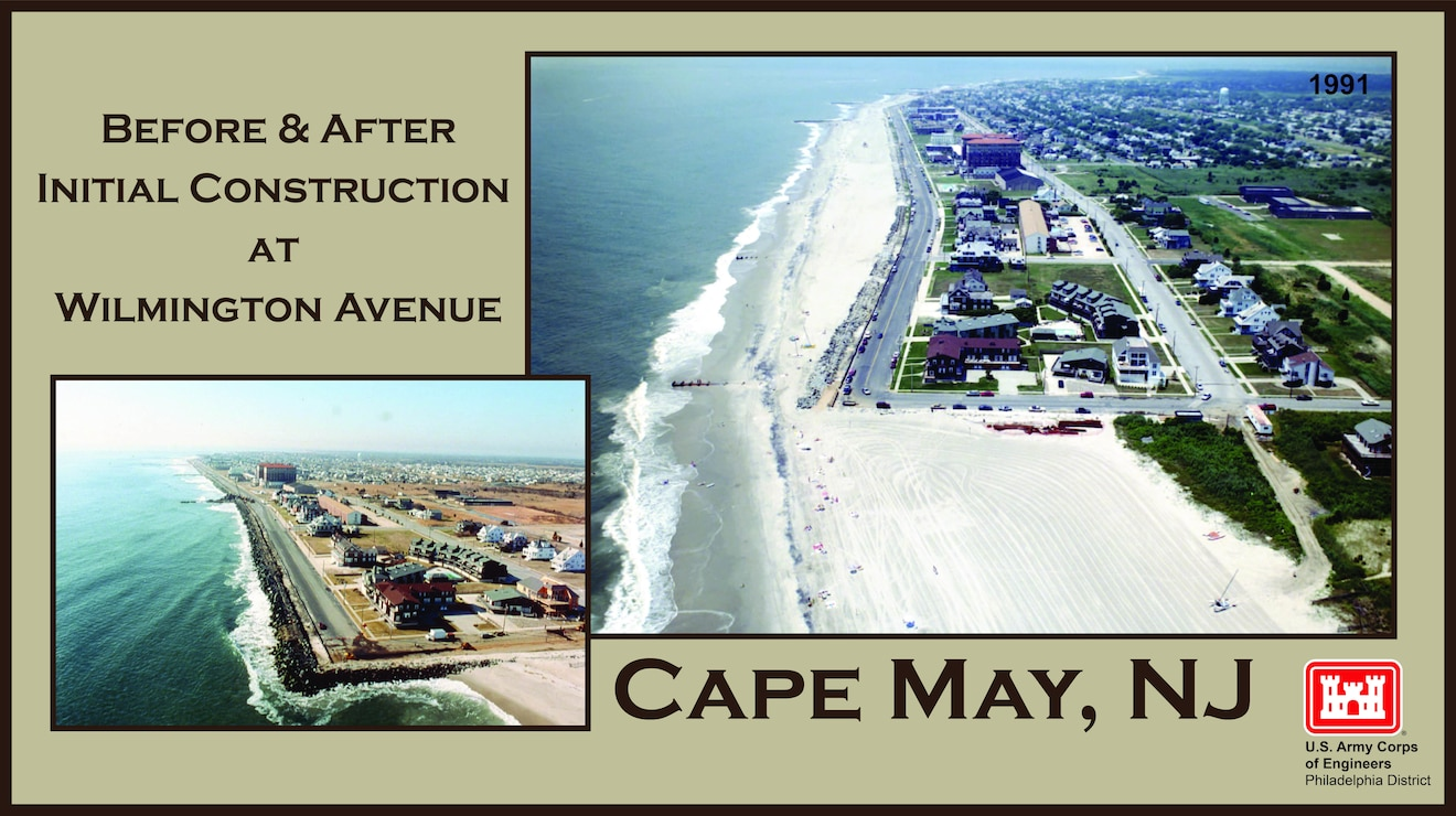 Wilmington Avenue Before and After - initial construction of an elevated 25 to 180-foot wide berm was completed in 1991 as part of the Cape May to Lower Township project. Cape May City beaches were often in a severely eroded state prior to the initial construction and periodic nourishments in subsequent years.