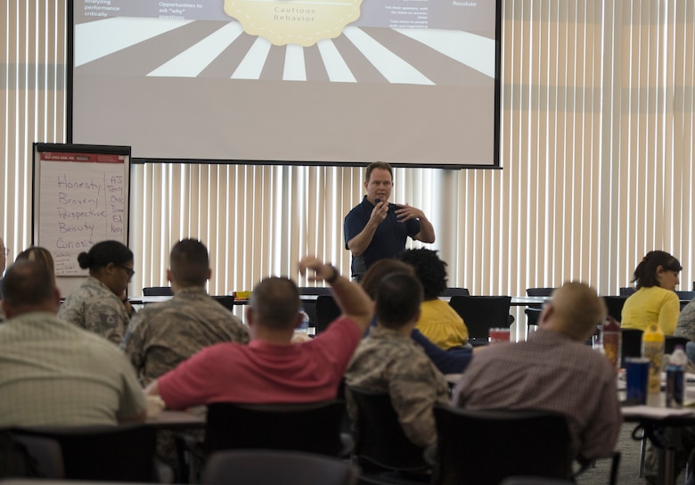 Ed Crews, Ph. D., a Master Resiliency Training Instructor, speaks to a class of master resiliency students in St. Paul, Minn., July 24, 2019.