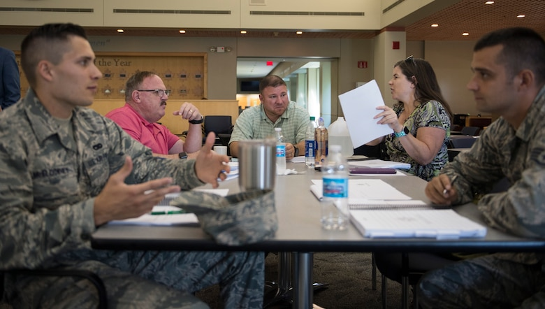 Members from the U.S. Air Force, U.S. Air National Guard, and the U.S. Air Force Reserve attend a master resilience training course in St. Paul, Minn., July 24, 2019.