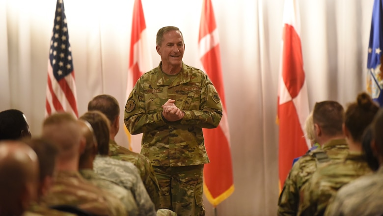 The 21st Air Force Chief of Staff David Goldfein speaks to the Airmen of the 821st Air Base Group during an all call at Thule Air Base, Greenland July 20, 2019. During the all call, Goldfein covered topics such as multi-domain operations, joint leaders and teams, and the importance of squadrons in the Air Force. (U.S. Air Force photo by Staff Sgt. Alexandra M. Longfellow)