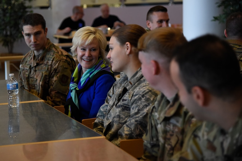 Dawn Goldfein, wife of Air Force Chief of Staff General David Goldfein, visits with 821st Air Base Group Airmen during a visit to Thule, Greenland, July 20, 2019. During their visit, the Goldfeins toured various work centers throughout the group and spoke to Airmen. (U.S. Air Force photo by Staff Sgt. Alexandra M. Longfellow)