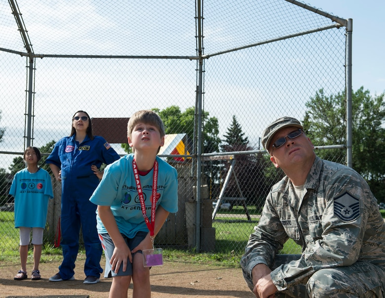 U.S. Air Force Master Sgt. Jeremy Bundgard, 133rd Logistics Readiness Squadron, volunteers for STARBASE Minnesota's rocket launches in St. Paul, Minn., July 18, 2019.