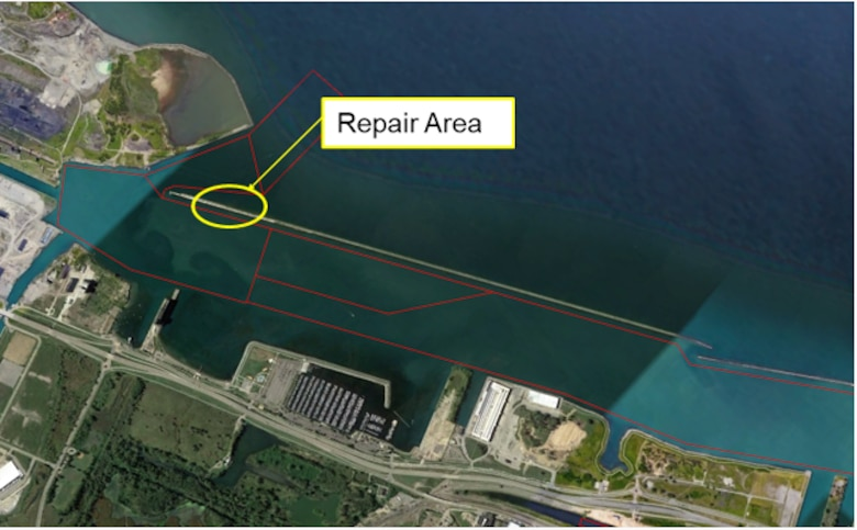 The U.S. Army Corps of Engineers, Buffalo District began repairs to 625 feet out of the 1,000 feet of critical repair area of the Buffalo south breakwater located in the Buffalo Harbor, in the City of Buffalo, Erie County, New York on July 26, 2019.  Site work is expected to start in 2019 with completion in 2020.