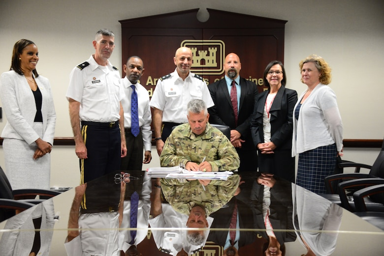 Lt. Gen. Todd T. Semonite, U.S. Army Corps of Engineers Commanding General and 54th U.S. Army Chief of Engineers,  signs the recommended plan to implement flood risk management solutions along Weir Gulch and Harvard Gulch in Adams and Denver County, Col., and restore aquatic, wetland, and riparian habitat along the South Platte River Monday July 29 at USACE headquarters in Washington, D.C.  The signing of the Adams and Denver County Chief's Report moves the project forward to Congress for authorization and appropriation.