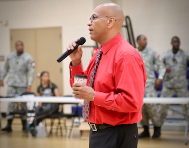 Raynald Blackwell, Capital Guardian Youth ChalleNGe Academy program director, welcomes participants of the newest participants of the CGYCA program July 13. During his briefing, he outlines the military-style program agenda. (U.S. Army National Guard photo by Sgt. 1st Class Ron Lee)