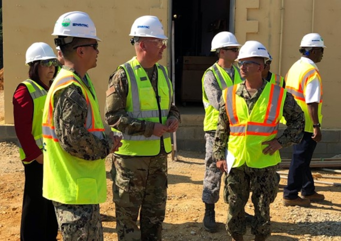 As work gets underway to build the new Joint Air Defense Operations Center satellite site here on Joint Base Andrews, Air Force District of Washington Commander Maj. Gen. Ricky N. Rupp and his staffers went out July 29 to inspect the location and meet with civil engineers and mission support personnel. The site will complement the main location at Joint Base Anacostia-Bolling in carrying out highly secure command and control operations to safeguard the skies above the nation's capital.