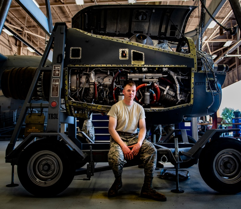 Airman 1st Class Alexander Girardot, 361st Training Squadron aerospace propulsion apprentice course graduate, poses for a picture at Sheppard Air Force Base, Texas, July 18, 2019. Girardot received the ACE award after passing all nine blocks of instruction with perfect scores. (U.S. Air Force photo by Airman 1st Class Pedro Tenorio)