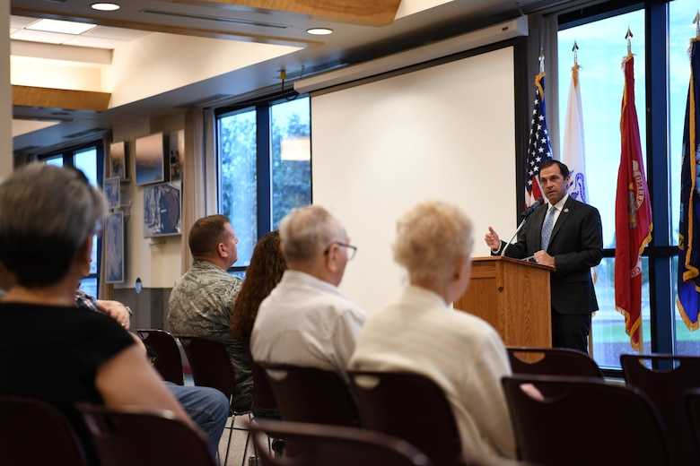 Congressman Jason Crow, 6th District of Colorado Representative, speaks with retirees, July 27, 2019, on Buckley Air Force Base, Colo. Crow emphasized democracy is not inevitable and must be fought for by every generation and that we owe a debt to those who have served. (U.S. Air Force photo by Airman 1st Class Michael D. Mathews)