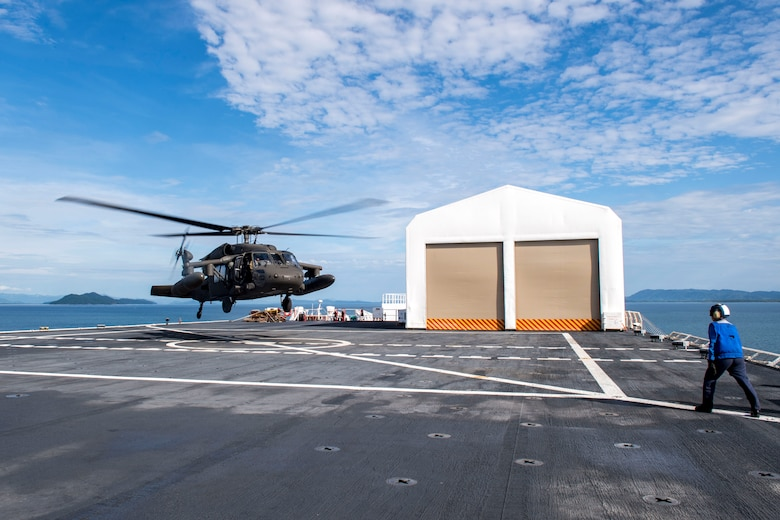 A UH-60 Blackhawk assigned to the 1st Battalion 228th Aviation Regiment completes a bounce off the U.S. Naval Ship Comfort during deck landing qualifications July 26, 2019, off the coast of Punta Arenas Costa Rica. U.S. Army Helicopter pilots and crew members of Joint Task Force –Bravo completed qualifications July 18-26 to support an upcoming mission, off the coast of Punta Arenas, Costa Rica.