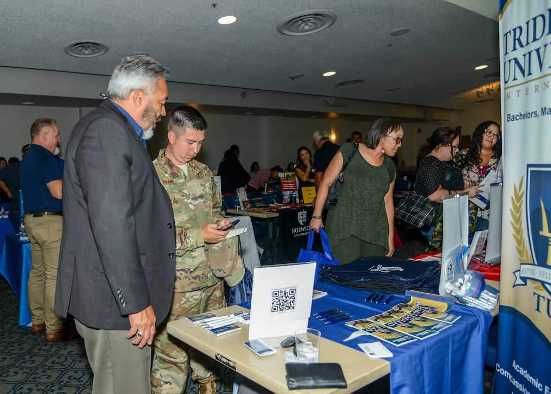 Representatives from more than 50 schools, including Ivy League universities and technical colleges, were present at an Education Fair at Edwards Air Force Base, Calif., July 23. (U.S. Air Force photo by Giancarlo Casem)