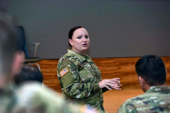 Army Capt. Melody Howell, a logistics integrator with the South Dakota Army National Guard's 196th Maneuver Enhancement Brigade, speaks about her experience with the Army National Guard's High Performing Leader Program while at the Herbert R. Temple Jr. Army National Guard Readiness Center, in Arlington, Virginia, July 10, 2019.  As part of the HPLP, Howell was assigned to Army Sustainment Command at Rock Island Arsenal, Illinois, where she gained experience in coordinating strategic-level logistics operations for the Army Guard.