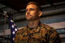 U.S. Marine Corps Col. Michael D. Reilly, commanding officer of Combined Arms Training Center, Camp Fuji, stands at attention during a Mess Night July 21, 2019 at Camp Fuji, Japan. The event was put together to a stronger alliance with Japan through a U.S. Marine Corps tradition. (U.S. Marine Corps photo by Lance Cpl. Brennan J. Beauton)