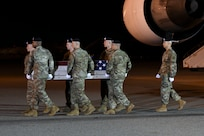 A U.S. Army carry team transfers the remains of Spc. Michael I. Nance, of Chicago, Ill., July 31, 2019 at Dover Air Force Base, Del. Nance was assigned to the 1st Battalion, 505th Parachute Infantry Regiment, 3rd Brigade Combat Team, 82nd Airborne Division, Fort Bragg, N.C. (U.S. Air Force Photo by Senior Airman Christopher Quail)
