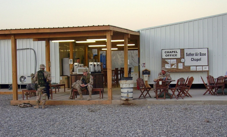 Holy Joe's Cafe's first location at Sather Air Force Base, Baghdad, Iraq, September 2006. According to their public website, the organization sends coffee and supplies to hundreds of U.S. military troops in 70 countries around the world, including small Forward Operating Bases, hospitals, military vessels and other settings free of charge. (Courtesy photo)