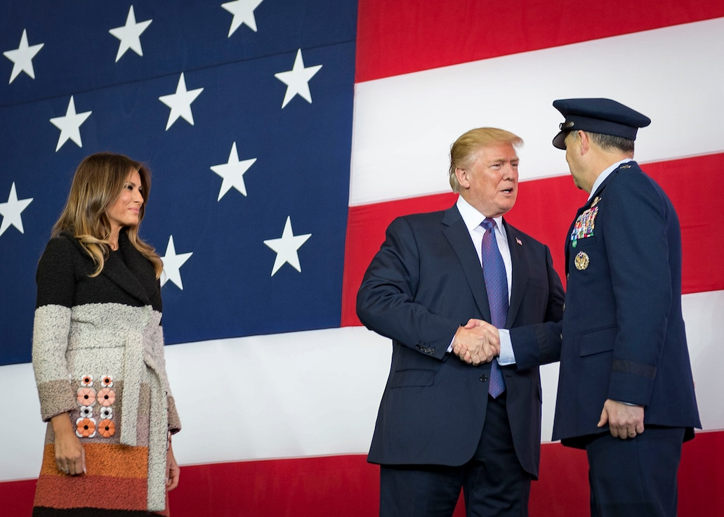 President Donald J. Trump greets Lt Gen Jerry P. Martinez, US Forces Japan and 5th Air Force commander, during a Troop Talk
