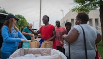 Every Wednesday, the Airmen meet in downtown St. Louis and provide an array of different supplies that are crucial for homeless people surviving. A hot meal, nonperishable items, fruit, hygiene kits and water are all things that have been donated to people in need.