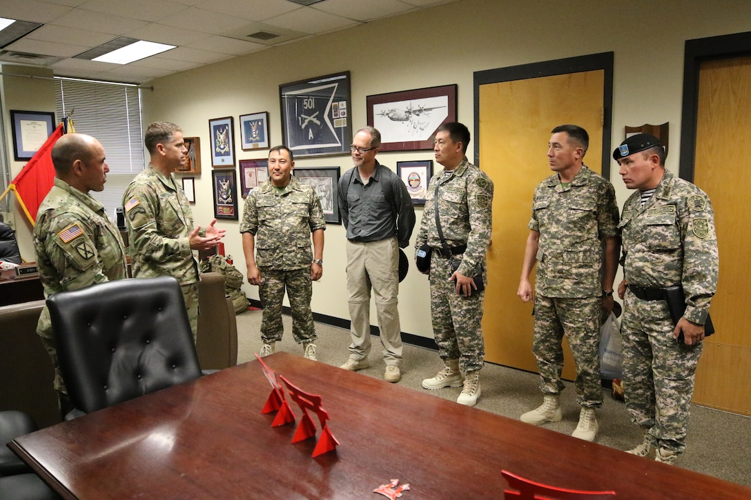 Col. John Cogbill, brigade commander of the 3rd Brigade Combat Team, 101st Airborne Division (Air Assault), Fort Campbell, Ky., gives a farewell to the senior leaders of the Kazakhstan Ground Forces July 26.   The purpose of their visit was to observe and discuss best practices regarding the nature of command relationships, the roles and responsibilities of officers and senior noncommissioned officers on the brigade and battalion staff, the employment and sustainment of light infantry units in support of multinational operations with an anticipation of improving operations of their ground forces in Kazakhstan.