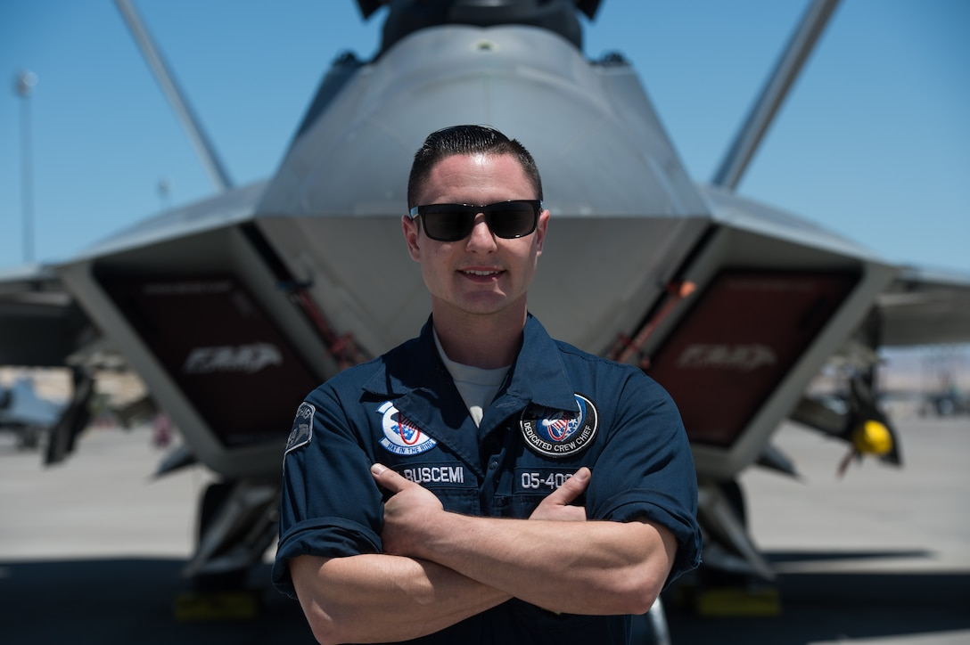 U.S. Air Force Staff Sgt. Lenny Buscemi is a dedicated crew chief with the 94th Aircraft Maintenance Unit.
