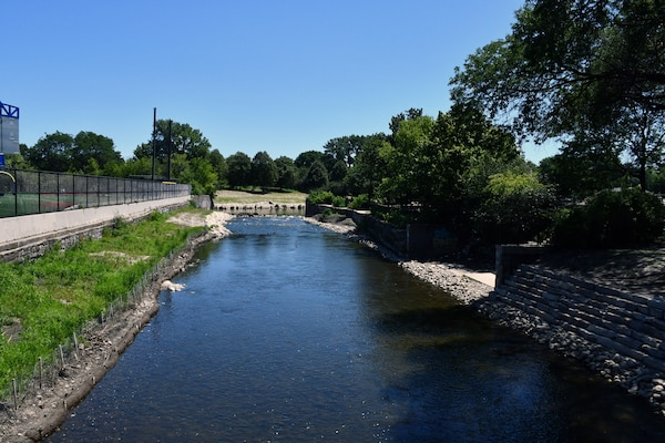 A view July 31, 2019 of where the North Branch Dam in River Park once stood. The four-foot high concrete dam at the convergence of the North Branch of the Chicago River and the North Shore Channel on Chicago's north side was a barrier to healthy ecosystems and was removed by the U.S. Army Corps of Engineers Chicago District in 2018. (U.S. Army photo by Mariah Oliveras/Released)