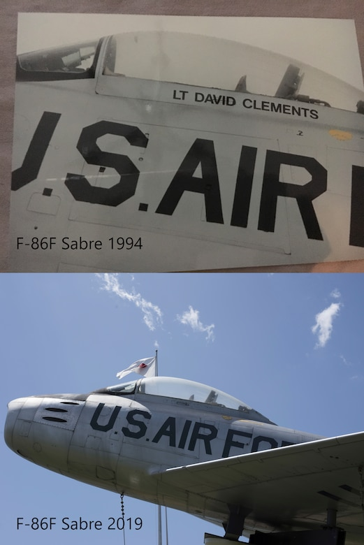 """An F-86F Sabre aircraft displays """"Lt David Clements"""" in Risner Circle at Misawa Air Base, Japan, in the spring of 1994 and in May 2019. Clements, a 468th Strategic Fighter Squadron fighter pilot passed away April 16, 1953, at 27 years, from an aircraft ejection malfunction. In his honor, his name is painted on the F-86F Sabre static display. Refreshing the aircraft with a repaint of the lettering is slated to occur within the next year. (U.S. Air Force photo illustration by Senior Airman Collette Brooks)"""