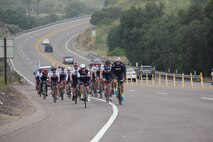 Mission2Alpha members ride up a hill May 4, 2019, during a 400-mile ride from Carefree, Ariz. to San Diego.