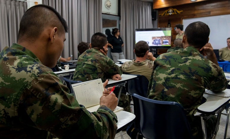 190531-N-RM689-1025 SATTAHIP NAVAL BASE, Thailand (May 31, 2019) Royal Thai Navy Petty Officer 1st Class Chaiwat Chaisut, assigned to the Royal Thai Navy Diver and Explosive Ordnance Disposal Center, takes notes during a knowledge exchange about different types of explosives and disposal techniques as part of Cooperation Afloat Readiness and Training (CARAT) Thailand 2019. This year marks the 25th iteration of CARAT, a multinational exercise series designed to enhance U.S. and partner navies' abilities to operate together in response to traditional and non-traditional maritime security challenges in the Indo-Pacific region.