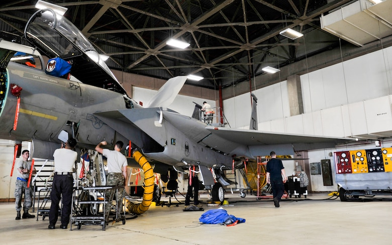 An F-15 Eagle undergoes full phase maintenance and inspections at Kadena Air Base, Japan, May 15, 2019.