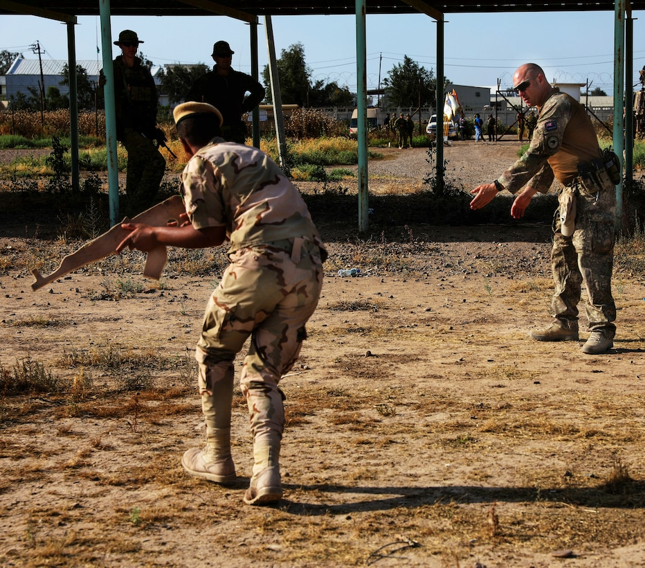 A New Zealand soldier with the Task Group Taji 8 gives instruction on movement to execute tactical field care techniques, on Camp Taji, Iraq May 6, 2019. Combined Joint Task Force – Operation Inherent Resolve focuses on providing training, support, and equipment to enhance the professionalism, technical expertise and equipment capabilities of Iraqi Security Forces. This will enable the ISF to counter future external and internal threats independently and establish permanent security across the country.