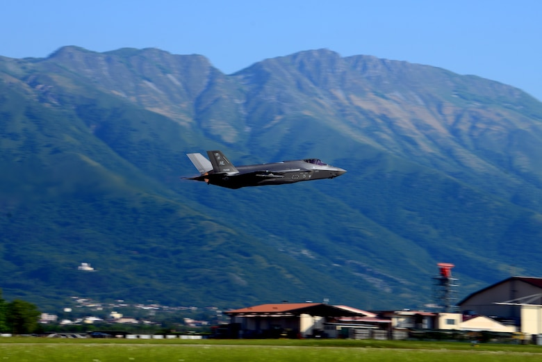 An F-35A Lightning II from the 388th and 419th Fighter Wings, at Hill AFB, Utah, takes off on the first day of Astral Knight 19 at Aviano Air Base, Italy, on June 3, 2019. The F-35 is a 5th generation jet with advanced stealth and fused sensors allowing for enhanced situational awareness. (U.S. Air Force photo by Airman 1st Class Caleb House)