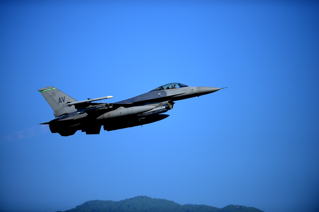 An F-16 Fighting Falcon from the 555th Fighter Squadron takes off on the first day of Astral Knight 19 at Aviano Air Base, Italy, on June 3, 2019. Astral Knight is a multinational integrated air and missile defense exercise involving forces from the U.S., Italy, Croatia and Slovenia. (U.S. Air Force photo by Airman 1st Class Caleb House)